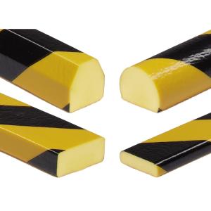 Flächenschutz -Protect- Knuffi® aus PU, Länge 5000 mm (Rolle), gelb / schwarz, verschiedene Profile (Modell:  <b>Trapez 40/36 mm</b> (Art.Nr.: 33365))