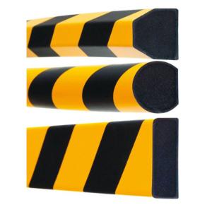 Flächenschutz -Safe- aus PU, Länge 1000 mm, verschiedene Profile, hochwertig und flexibel (Modell/Farbe/Montage:  <b>Trapez 40/40mm</b><br>verkehrsgelb (RAL 1023)/schwarz, selbstklebend (Art.Nr.: 11390))