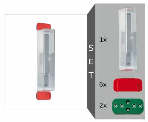 Fluchttür-Griffhauben, Komplett Set, Modelle D2, E und K (Set/Maße:  <b>Modell D2</b> für normale Rahmen<br>80 x 297 x 72 mm (Art.Nr.: 90.2190))