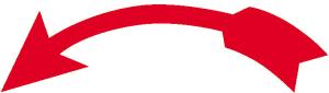 Formgedruckter Drehrichtungs- und Richtungspfeil auf Rolle, gebogen, weiß / rot (Richtung/Maße: linksweisend<br>68 x 22 mm / 110er-Rolle (Art.Nr.: 31.9401))