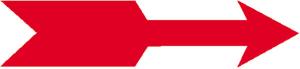 Formgedruckter Drehrichtungs- und Richtungspfeil gerade, auf Rolle, weiß-rot (Maße (BxH)/Lieferform: 30 x 6 mm / 200er-Rolle (Art.Nr.: 31.9412))