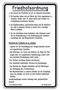 Friedhof- und Kirchenschild -Friedhofsordnung- (Maße/Form: 630x420mm/Flachform (Art.Nr.: kf101006420))