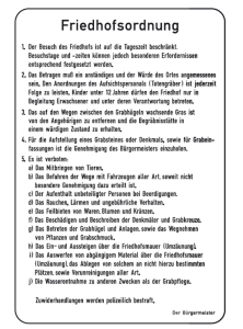 Friedhof- und Kirchenschild -Friedhofsordnung- (Maße/Form: 630x420mm/Flachform (Art.Nr.: kf108006420))