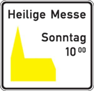 Friedhof- und Kirchenschild -Kirchenschild-, Piktogramm gelb (Form: Flachform 2mm (Art.Nr.: kk120001321))