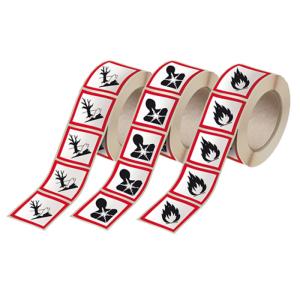 GHS-Gefahrstoffsymbole, PE-Folie (selbstklebend) auf Rolle, VPE 500 Stk.