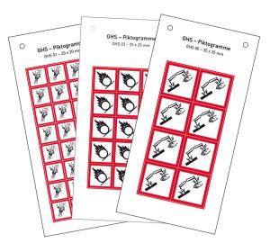 GHS-Gefahrstoffsymbole aus Folie (selbstklebend) auf Bogen, verschiedene Größen