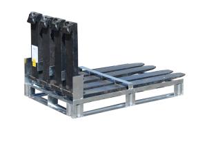 Gabelzinkenpalette -Typ GZP-, für die Lagerung und den Transport von Gabelzinken (Modell/Anzahl Gabelzinkenaufnahme/Sicherung/Gewicht:  <b>GZP 4</b> / 4 Gabelzinken / Sicherung einzeln / 28 kg (Art.Nr.: 38476))