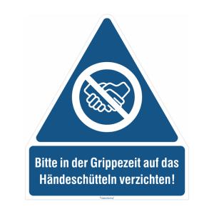 Gebots-Kombischild, -Bitte in der Grippezeit auf das Händeschütteln verzichten!- (Material/Stärke: PVC-Folie, selbstklebend / 0,1 mm (Art.Nr.: 21.1456))