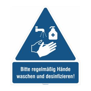 Gebots-Kombischild, -Bitte regelmäßig Hände waschen und desinfizieren!- (Material/Stärke: PVC-Folie, selbstklebend / 0,1 mm (Art.Nr.: 21.1450))