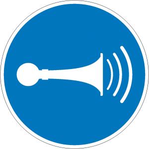 Gebotsschild, Akustisches Signal geben (Ausführung: Gebotsschild, Akustisches Signal geben (Art.Nr.: 21.a7470))