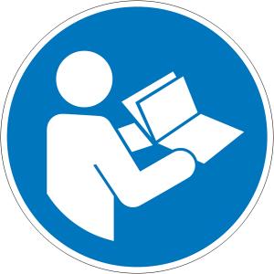 Gebotsschild, Anleitung beachten (Maße Ø /Material: 100mm/weich-PVC-Folie (Art.Nr.: 21.a7423))