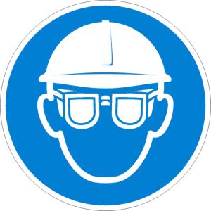 Gebotsschild, Augen- und Kopfschutz benutzen (Maße Ø /Material: 50 mm / Folie, 6er-Bogen (Art.Nr.: 30.a7912))