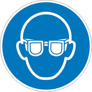 Gebotsschild, Augenschutz benutzen (Maße Ø/Material: 30mm/Folie,15er-Bogen (Art.Nr.: 30.a7000))