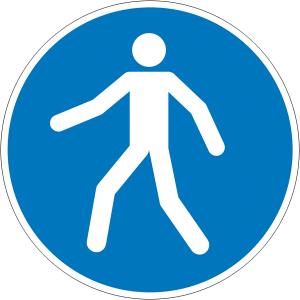 Gebotsschild, Fußgängerweg benutzen (Maße Ø/Material: 100 mm / Folie, selbstklebend (Art.Nr.: 21.a7380))