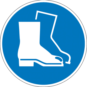 Gebotsschild, Fußschutz benutzen (Maße Ø /Material: 30mm / Folie, 15er-Bogen (Art.Nr.: 30.0849))