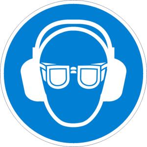 Gebotsschild, Gehör- und Augenschutz benutzen (Maße Ø / Material: 50 mm / Folie, 6er-Bogen (Art.Nr.: 30.a7902))