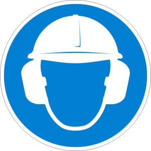 Gebotsschild, Gehör- und Kopfschutz benutzen (Material: Folie,selbstklebend (Art.Nr.: 21.a7927))