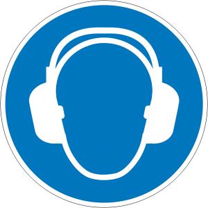Gebotsschild, Gehörschutz benutzen (Maße Ø /Material: 30 mm / Folie, 15er-Bogen (Art.Nr.: 30.a7050))