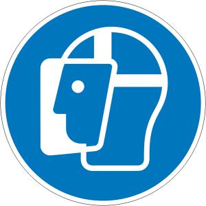 Gebotsschild, Gesichtsschutz benutzen (Größe Ø / Material: 50 mm / Folie, 6er-Bogen (Art.Nr.: 30.a7250))