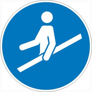Gebotsschild, Handlauf benutzen (Maße Ø: Ø 100 mm (Art.Nr.: 21.a7370))
