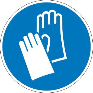 Gebotsschild, Handschutz benutzen (Maße Ø/Material: 25mm/Folie,500er-Rolle (Art.Nr.: 31.a7560))