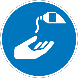 Gebotsschild, Hautschutzmittel benutzen (Maße Ø: Ø 100 mm (Art.Nr.: 21.a7100))