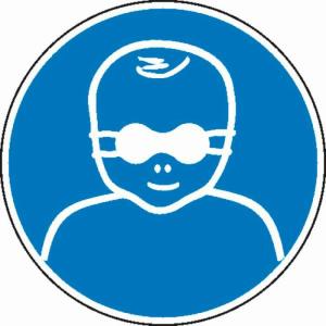 Gebotsschild, Kleinkinder durch weitgehend lichtundurchlässige Augenabschirmung schützen (Ausführung: Gebotsschild, Kleinkinder durch weitgehend lichtundurchlässige Augenabschirmung schützen (Art.Nr.: 21.0379))