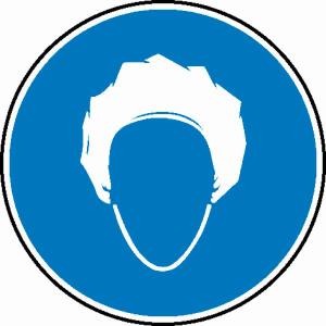 Gebotsschild, Kopfhaube tragen (Maße Ø/Material: 100 mm / Folie, selbstklebend (Art.Nr.: 21.0544))