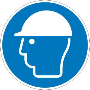 Gebotsschild, Kopfschutz benutzen (Maße Ø /Material: 30mm / Folie, 15er-Bogen (Art.Nr.: 30.a7150))
