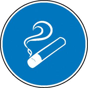 Gebotsschild, Rauchen gestattet (Maße Ø/Material: 100mm/Folie, selbstklebend (Art.Nr.: 21.0609))