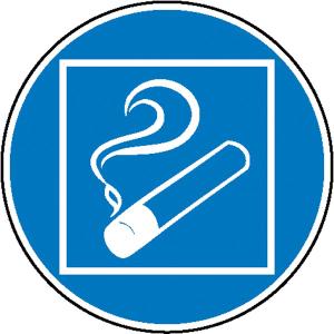 Gebotsschild, Rauchen nur innerhalb des begrenzten Raumes gestattet (Maße Ø/Material: 100mm/Folie, selbstklebend (Art.Nr.: 21.0614))