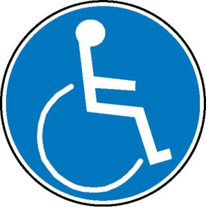 Gebotsschild, Rollstuhlbenutzer (Maße Ø / Material: 100 mm / Folie, selbstklebend (Art.Nr.: 21.0571))
