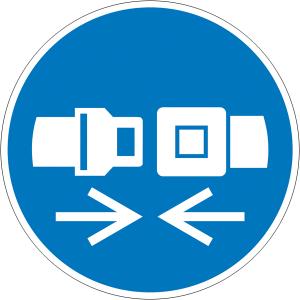 Gebotsschild, Rückhaltesystem benutzen (Maße Ø/Material: 100mm/Folie,selbstklebend (Art.Nr.: 21.a7410))