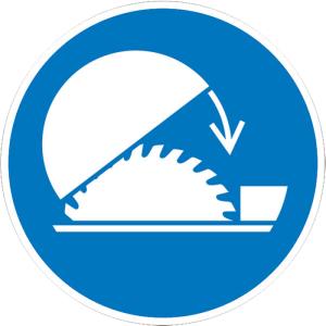 Gebotsschild, Schutzhaube für Tischkreissäge benutzen (Ausführung: Gebotsschild, Schutzhaube für Tischkreissäge benutzen (Art.Nr.: 21.a7500))