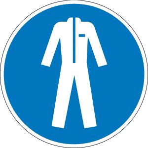 Gebotsschild, Schutzkleidung benutzen (Maße Ø /Material: 30mm / Folie, 15er-Bogen (Art.Nr.: 30.0851))
