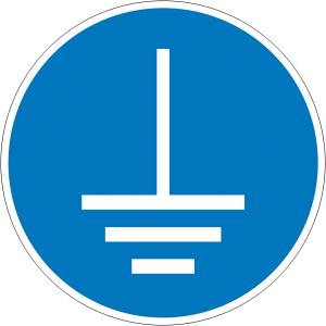 Gebotsschild, Vor Benutzung erden (Maße Ø: Ø 50 mm / 6er Bogen (Art.Nr.: 30.a7455))