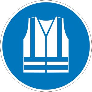 Gebotsschild, Warnweste benutzen (Maße Ø/Material: 100mm/Folie,selbstklebend (Art.Nr.: 21.a7355))