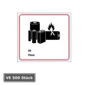 Gefahrenetiketten / Verpackungskennzeichnung Batterie, 500 Stück auf Rolle (Beschriftung: UN / Phone (Art.Nr.: 31.d2536))