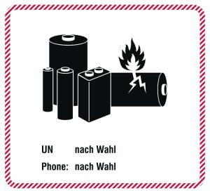 Gefahrenetiketten / Verpackungskennzeichnung Batterie, Text nach Wahl (Ausführung: Gefahrenetiketten/Verpackungskennzeichnung Batterie, Text nach Wahl (Art.Nr.: 21.d2538))