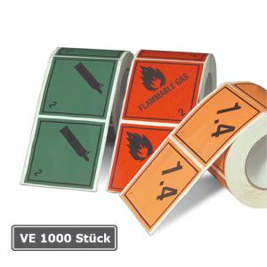 Gefahrenetiketten / Verpackungskennzeichnung, Rolle, VE 1000 Stück, 100x100mm, Haftpap. selbstkl. (Motiv/Gefahrstoffklasse/Farbe:  <b>Symbol entzündbar</b><br>Klasse 2 / rot (Art.Nr.: 32.2260-136))