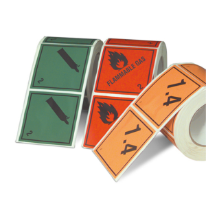 Gefahrenetiketten / Verpackungskennzeichnung auf Rolle, 100x100mm, Haftpap. selbstkl., VPE 500 Stk. (Motiv/Gefahrstoffklasse/Farbe/Menge:  <b>1.4</b><br>Klasse 1 / orange / VPE 500 Stk. (Art.Nr.: 32.2263-141))