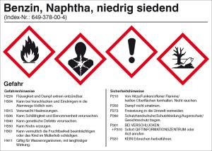 Gefahrstoffetikett, Benzin, Naphtha, niedrig siedend (Ausführung: Gefahrstoffetikett, Benzin, Naphtha, niedrig siedend (Art.Nr.: 21.b2042))
