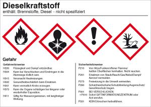 Gefahrstoffetikett, Dieselkraftstoff (Ausführung: Gefahrstoffetikett, Dieselkraftstoff (Art.Nr.: 21.b2052))