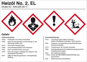Gefahrstoffetikett, Heizöl No. 2 EL (Ausführung: Gefahrstoffetikett, Heizöl No. 2 EL (Art.Nr.: 21.b2060))