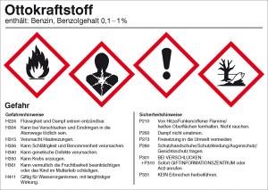 Gefahrstoffetikett, Ottokraftstoff (Ausführung: Gefahrstoffetikett, Ottokraftstoff (Art.Nr.: 21.b2040))