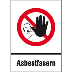 Gefahrstoffkennzeichnung / Verbotskombischild Asbestfasern nach TRGS 519 (Ausführung: Gefahrstoffkennzeichnung/Verbotskombischild Asbestfasern nach TRGS 519 (Art.Nr.: 43.3605))