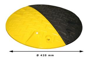 Geschwindigkeitshemmer -Bump- aus Recyclingmaterial, Ø 420 mm, Höhe 50 mm, mit Reflektoren (Ausführung: Geschwindigkeitshemmer -Bump- aus Recyclingmaterial, Ø 420 mm, Höhe 50 mm, mit Reflektoren (Art.Nr.: 24130))
