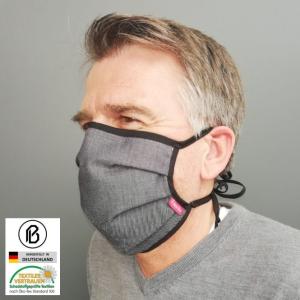 Gesichtsmaske aus Denim-Optik-Gewebe, für Erwachsene oder Kinder, in schwarz oder marineblau
