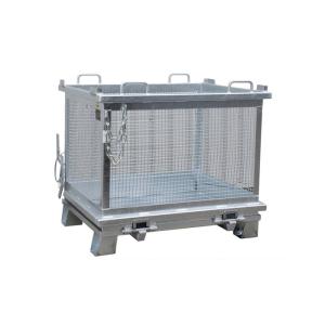 Gitterbehälter -Typ SB-G 1000-, für leichte Güter, Entleerung über Bodenklappe (Farbe : RAL 2000 gelborange (Art.Nr.: 38513))