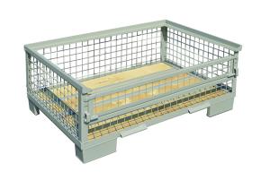 Gitterboxpalette, verzinkt und lackiert, halbhoch mit Klappe und Holzboden, 1200 x 800 x 300 mm (Ausführung: Gitterboxpalette, verzinkt und lackiert, halbhoch mit Klappe und Holzboden, 1200 x 800 x 300 mm (Art.Nr.: 37848))